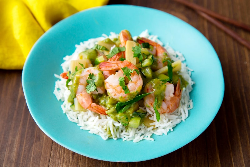 Green curry de crevettes