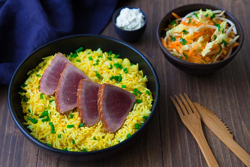 Thon aller-retour, riz et salade japonaise