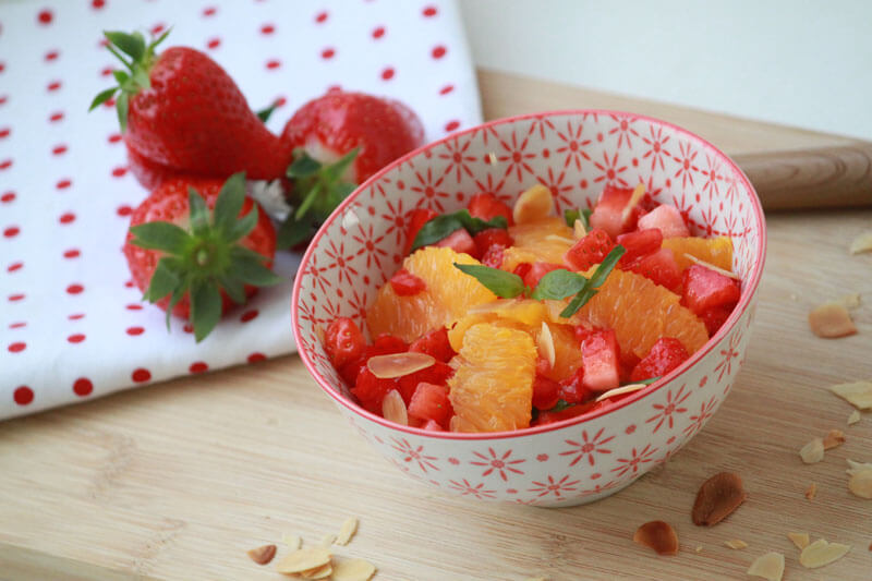 Salade fraise orange menthe