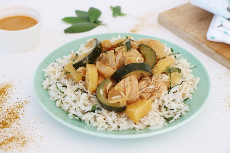 Curry rouge dinde ananas