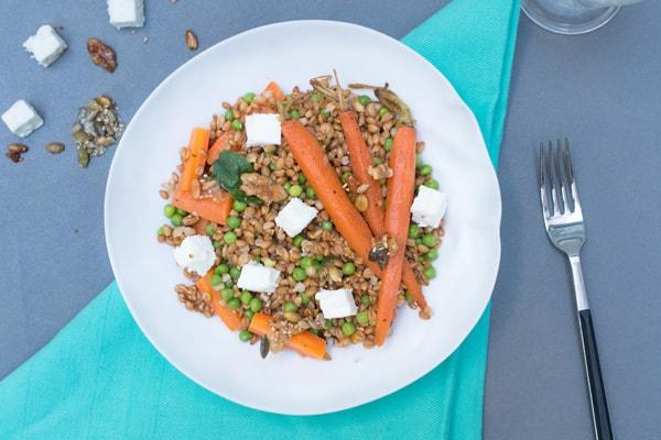 Petit épeautre carottes petits pois