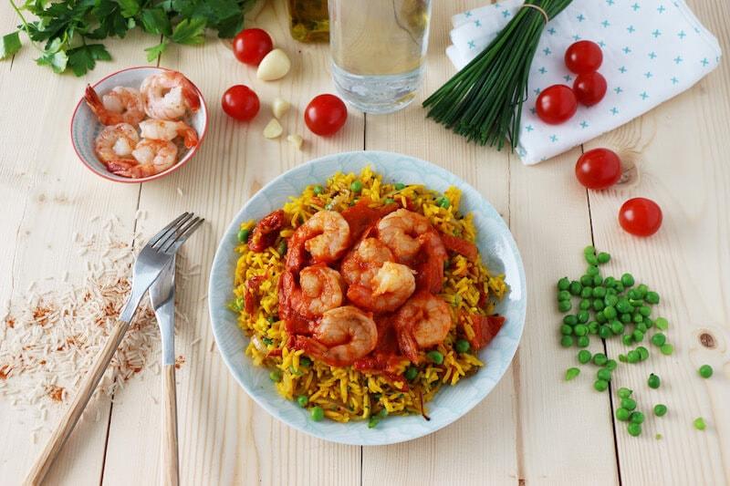 Crevettes pilpil riz