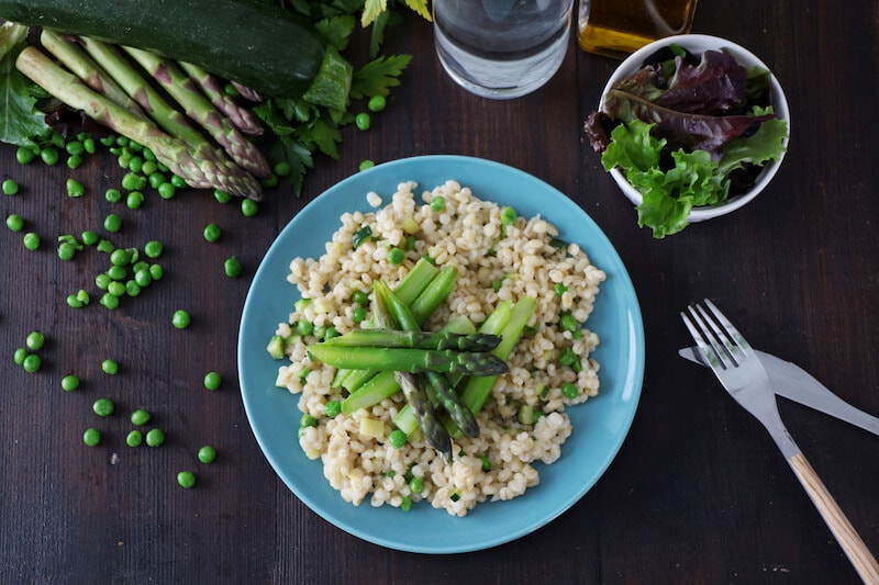 Risotto orge asperges courgettes