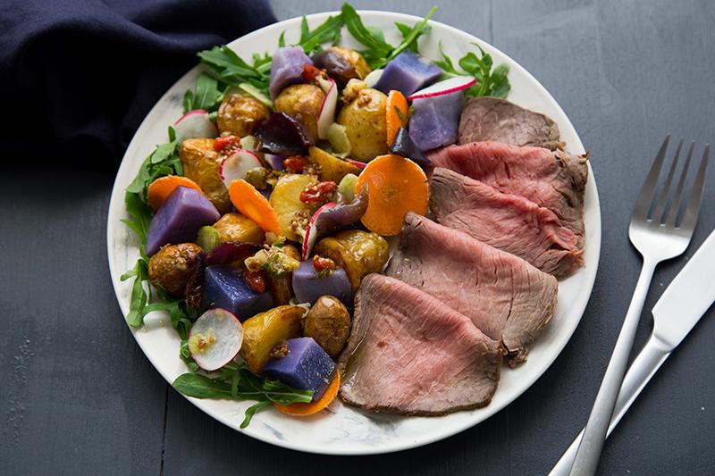Salade de roastbeef pommes de terre roquette goji