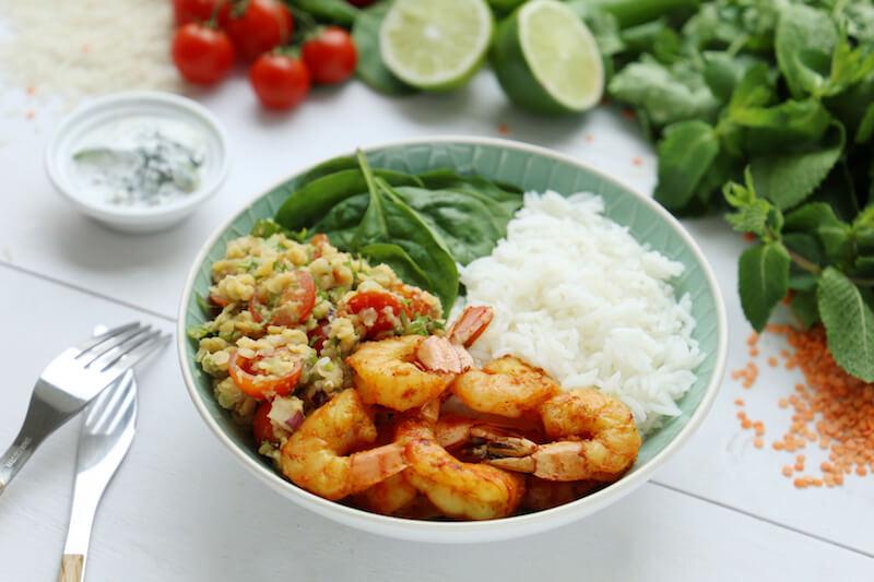 Salade riz indienne crevettes lentilles épinards