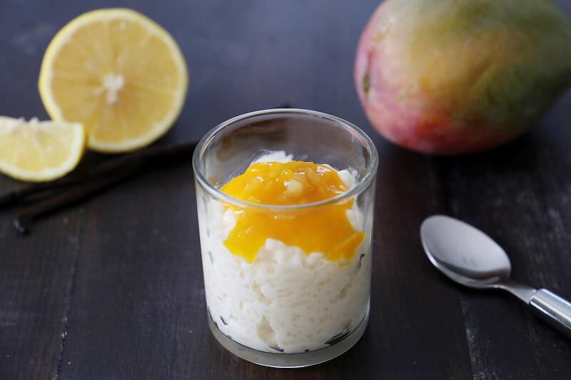 Riz au lait coulis de mangue et citron