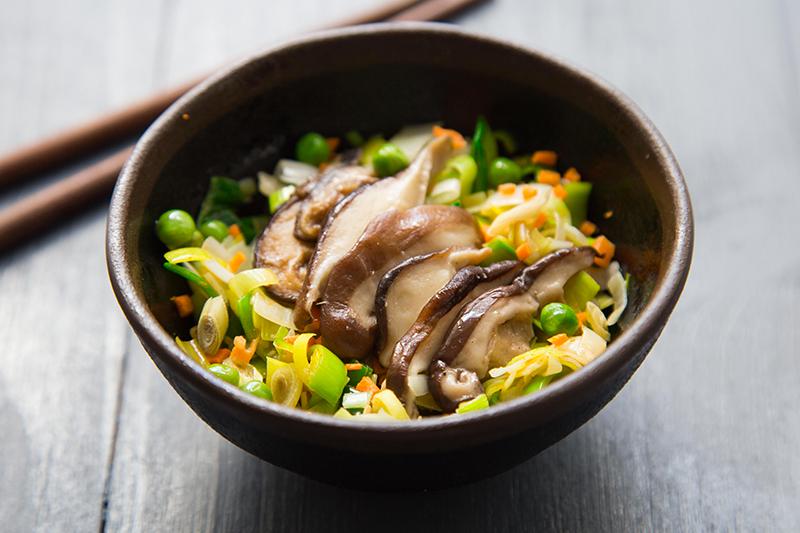 Salade poireaux shiitake carottes