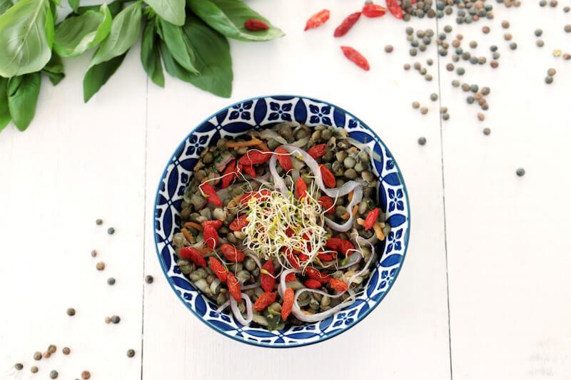 Salade lentilles curcuma carottes basilic