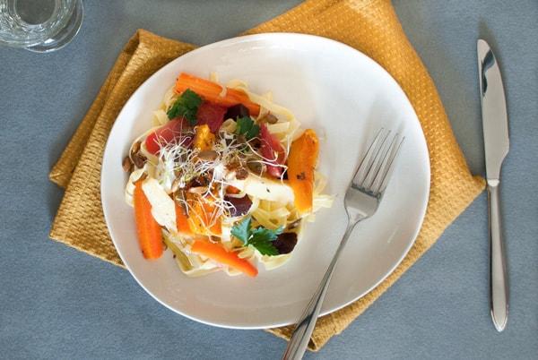 Tagliatelles aux légumes rotis