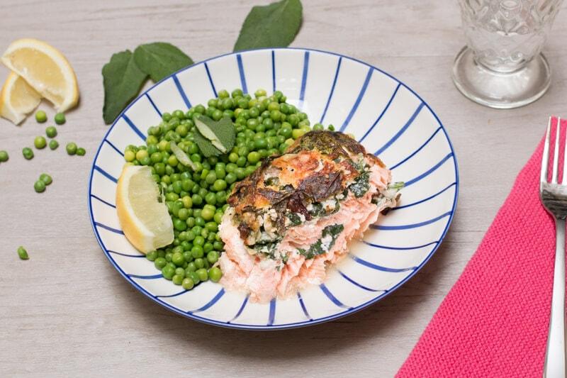 Roti de saumon épinards